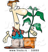 Vector of a Cartoon Man Talking Beside a Potted Plant by Toonaday