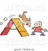 Vector of a Cartoon Man Training His Dog Tricks on an Agility Course by Gnurf