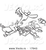 Vector of a Cartoon Man Tripping and Dumping Folded Laundry - Outlined Coloring Page by Toonaday