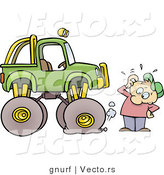 Vector of a Cartoon Man Trying to Figure out How to Fix Flat Tire on a Monster Truck by Gnurf
