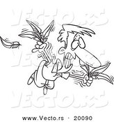 Vector of a Cartoon Man Trying to Fly with Feathers - Outlined Coloring Page by Ron Leishman