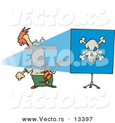 Vector of a Cartoon Man Turning Projector on and Seeing a Skull on a Blue Screen by Ron Leishman