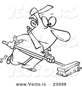 Vector of a Cartoon Man Using a Push Broom - Coloring Page Outline by Toonaday