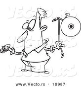 Vector of a Cartoon Man Waiting to Ring a Bell - Coloring Page Outline by Ron Leishman