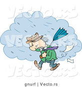 Vector of a Cartoon Man Walking in a Windy Rain Storm by Gnurf