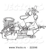 Vector of a Cartoon Man Washing Dishes in a Barrel - Coloring Page Outline by Toonaday