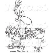 Vector of a Cartoon Man Washing His Hands with Soap and a Wash Cloth - Coloring Page Outline by Toonaday
