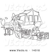 Vector of a Cartoon Man Watching Tv Hooked up to a Generator at His Camp Site - Coloring Page Outline by Toonaday