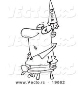 Vector of a Cartoon Man Wearing a Dunce Hat - Outlined Coloring Page by Toonaday