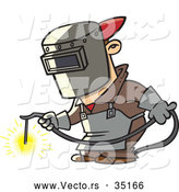 Vector of a Cartoon Man Welding Metal at Work by Toonaday