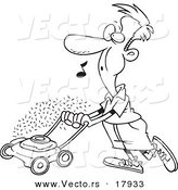 Vector of a Cartoon Man Whistling and Mowing His Lawn - Outlined Coloring Page by Toonaday
