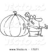 Vector of a Cartoon Man with a Big Pumpkin - Coloring Page Outline by Toonaday