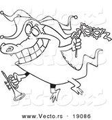 Vector of a Cartoon Mardi Gras Crocodile Holding a Trumpet - Outlined Coloring Page by Toonaday