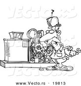 Vector of a Cartoon Mechanic Working on a Machine - Outlined Coloring Page by Toonaday