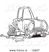 Vector of a Cartoon Mechanic Working Under a Car - Outlined Coloring Page by Toonaday