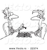 Vector of a Cartoon Men Playing Chess - Coloring Page Outline by Toonaday
