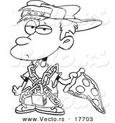 Vector of a Cartoon Messy Boy Eating Pizza - Coloring Page Outline by Toonaday