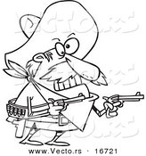 Vector of a Cartoon Mexican Bandito Holding Pistols - Outlined Coloring Page Drawing by Toonaday