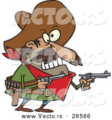 Vector of a Cartoon Mexican Bandito Ready to Shoot Pistols by Toonaday
