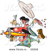 Vector of a Cartoon Mexican Man Blowing Flames from His Mouth While Holding a Plate Full of Hot Spicy Food by Toonaday