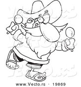 Vector of a Cartoon Mexican Santa Shaking Maracas - Outlined Coloring Page by Toonaday