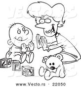 Vector of a Cartoon Mom Playing Patty Cake with Her Baby - Outlined Coloring Page by Ron Leishman