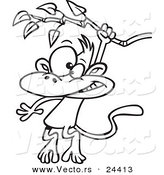 Vector of a Cartoon Monkey Swinging from a Branch - Outlined Coloring Page by Toonaday