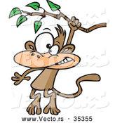 Vector of a Cartoon Monkey Swinging from a Treen Branch by Toonaday