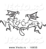 Vector of a Cartoon Monster Bat - Coloring Page Outline by Toonaday