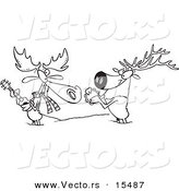 Vector of a Cartoon Moose and Elk Jamming in the Snow - Coloring Page Outline by Toonaday