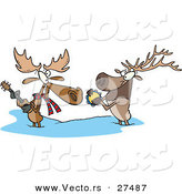 Vector of a Cartoon Moose and Elk Playing Musical Instruments by Toonaday