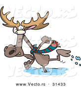 Vector of a Cartoon Moose Running in Deep Snow by Toonaday