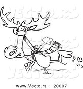 Vector of a Cartoon Moose Running in the Snow - Outlined Coloring Page by Toonaday