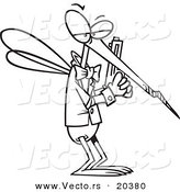 Vector of a Cartoon Mosquito Agent - Coloring Page Outline by Toonaday
