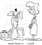 Vector of a Cartoon Mother Admiring Her Son in a Rabbit Costume for Halloween - Coloring Page Outline by Toonaday