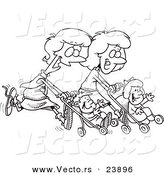 Vector of a Cartoon Mothers Running with Strollers - Coloring Page Outline by Toonaday