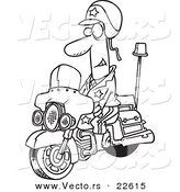 Vector of a Cartoon Motorcycle Cop - Coloring Page Outline by Toonaday