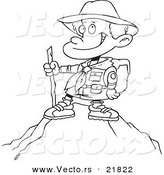 Vector of a Cartoon Mountain - Outlined Coloring Page by Toonaday