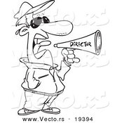 Vector of a Cartoon Movie Director Using a Bullhorn - Outlined Coloring Page by Toonaday