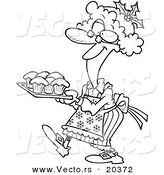 Vector of a Cartoon Mrs Claus Baking Cupcakes - Coloring Page Outline by Toonaday