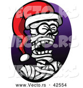 Vector of a Cartoon Mummy Wearing a Santa Hat by Zooco