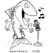 Vector of a Cartoon Musical Trout Singing - Coloring Page Outline by Toonaday