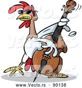 Vector of a Cartoon Musician Chicken Character Playing a Bass by Holger Bogen