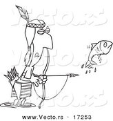 Vector of a Cartoon Native American Man Bow Fishing - Coloring Page Outline by Ron Leishman