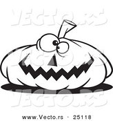 Vector of a Cartoon Nearly Flat Jackolantern Halloween Pumpkin - Coloring Page Outline by Toonaday
