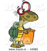 Vector of a Cartoon Nerd Turtle Trick-or-Treating on Halloween by Ron Leishman