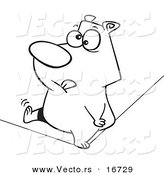 Vector of a Cartoon Nervous Bear Walking a Tight Rope - Outlined Coloring Page Drawing by Toonaday