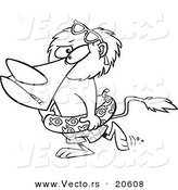 Vector of a Cartoon Nervous Lion Wearing an Inner Tube - Coloring Page Outline by Ron Leishman