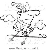 Vector of a Cartoon Nervous Man Jumping Too High While Skiing - Coloring Page Outline by Toonaday