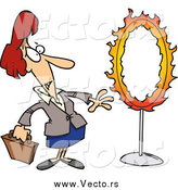 Vector of a Cartoon Nervous Red Haired White Businesswoman Standing by a Flaming Hoop by Toonaday